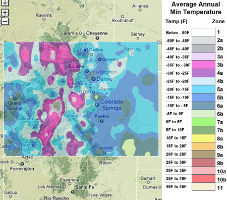 Usda cold hardiness zones colorado for Gardening zones colorado